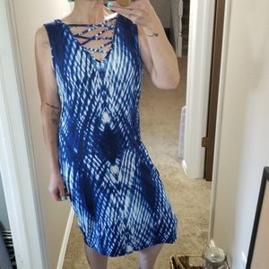 Blue and white bodycon dress